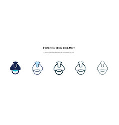 Firefighter helmet icon in different style two vector