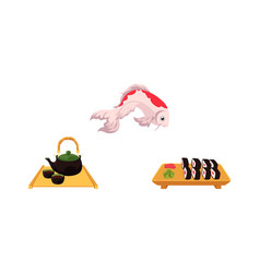 Flat coi carp sushi and tea ceremony set vector