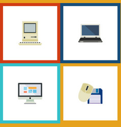 Flat icon computer set of computing computer vector