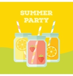 Flat party invitation with mason jar vector