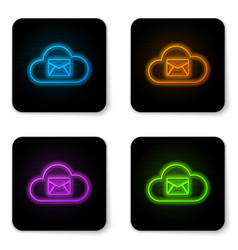 glowing neon cloud mail server icon isolated on vector image