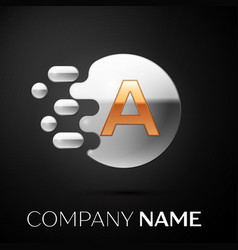 gold letter a logo silver dots splash vector image