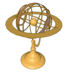 Gold sculpture on white background vector