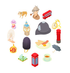 Great britain icons set isometric 3d style vector
