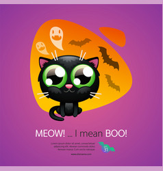 halloween greeting card with cat vector image