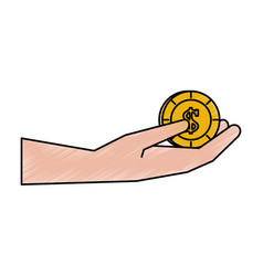 Hand holding coin money icon image vector