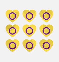 Hearts with intersex flag icon set intersex pride vector