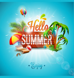 Hello summer holiday typographic vector