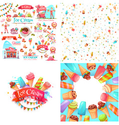 Ice cream elements vector