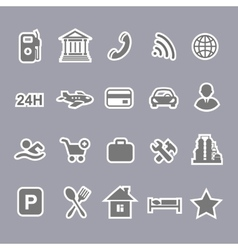 Icons for locations and services airport shopping vector