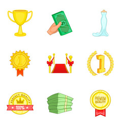 improve luck icons set cartoon style vector image