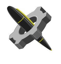 isolated pen in a gear vector image