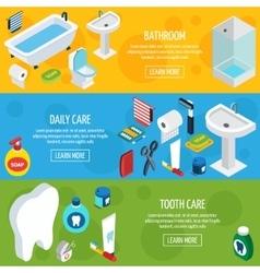 Isometric Horizontal Hygiene Banners vector image
