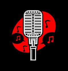 karaoke singing microphone mic with notes isolated vector image