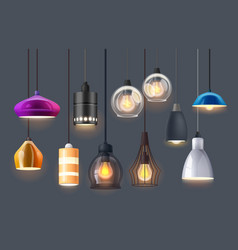Lamp lights and chandelier bulbs interior design vector