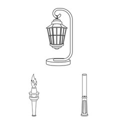 Lamp post outline icons in set collection for vector