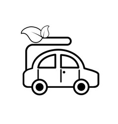 line ecologycal car with leaves to environment vector image