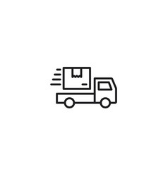 line shipping truck icon on white background vector image