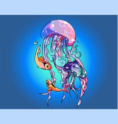 magic fantasy jellyfish swimming in ocean vector image
