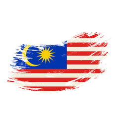 Malaysian flag grunge brush background vector