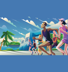 marathon running theme art vector image