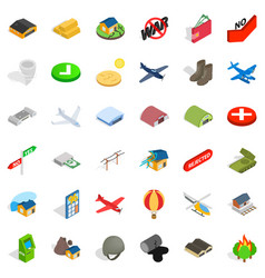 Military affairs icons set isometric style vector