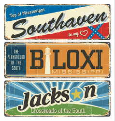 mississippi city enamel road sign vector image
