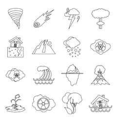 Natural disaster icons set outline ctyle vector