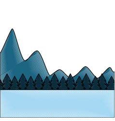 natural mountains with tree pines forest landscape vector image