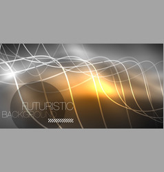 Neon lines wave background abstract composition vector