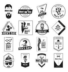 november mens day logo set simple style vector image