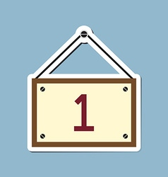 Number one with hanging wooden sign board vector image