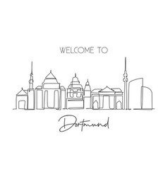 one continuous line drawing dortmund skyline vector image