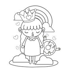 Outline girl with crown and kawaii cat donut vector