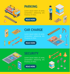 parking signs 3d banner horizontal set isometric vector image