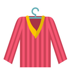 Pink striped pajama shirt icon isolated vector