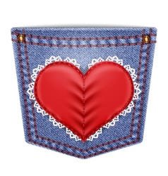 Rear pocket with sewn lace heart vector image