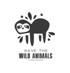 Save the wild animals logo design protection the vector