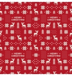 Seamless retro red christmas pattern with deers vector