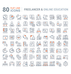 Set line icons freelancer and online education vector