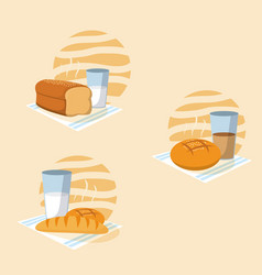 set of bread with milk glass vector image
