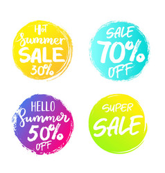 set of colorful summer sale circles signs vector image