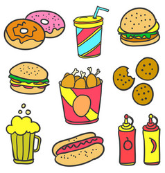 Set of food various style doodles vector