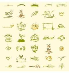 Set of natural elements for design vector