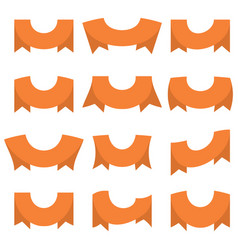 set of twelve orange ribbons and banners vector image