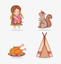 set woman indigenous and squirrel with turkey food vector image