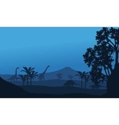 Silhouette of ankylosaurus and brachiosaurus vector image