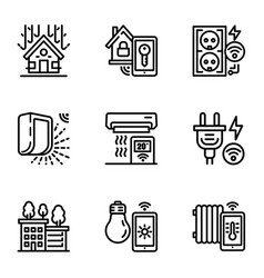 smart construction icon set outline style vector image