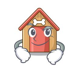 Smirking cartoon dog house and bone isolated vector