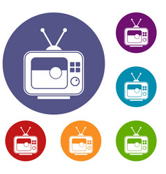 Soccer match on tv icons set vector